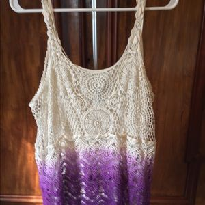 Crocheted lines tank top